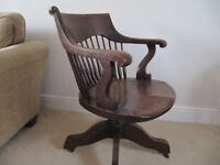 Captain's sprung swivel oak chair c1910 by Angus-London