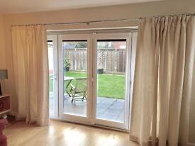 PAIR OF CREAM CURTAINS (Lined and interlined)