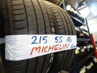 MATCHING PAIR of 215 55 16 michelins 6mm tread £50 PAIR SUP & FITD (loads more av} TXT S