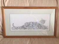 Tiger drawing in pine frame