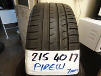 matching set of 215 40 17 PIRELLIS all 6mm tread £70 pair can fit foc opn 7 days 6pm £130 FOR SET