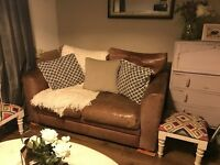 Tan real leather DFS sofa - vintage style