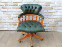 Green Leather Captains chair with light wooden frame (Delivery)