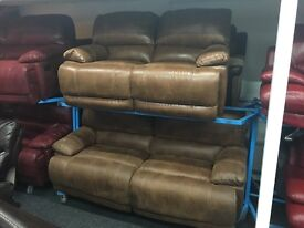 NEW/EX DISPLAY Brwon LazBoy Recliner 3 Seater + 2 Seater