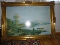 Vintage Print on Canvas in Beautiful Wooden Gold Frame 90 x 64 cm