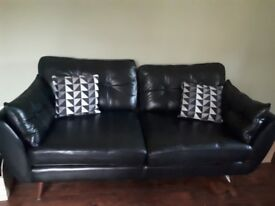 3 seater leather black sofa French connection