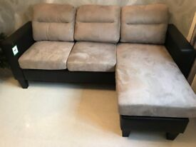 Brand New Leather & Suede Chaise Sofa - Left or Right Handed