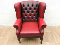 Leather workshop Queen Anne Leather high back chair Chesterfield (Delivery)
