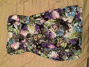 Strapless sexy floral black green purple dress - Size Small