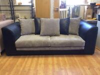 3 Seat Grey & Black Jumbo Cord and Leather Sofa - Ex Display - £199 Including Free Local Delivery