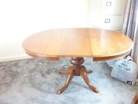 Round Wooden Pedestal Extending Table and 4 chairs