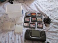 GAME GEAR CONSOLE BUNDLE,10 GAMES,POWER SUPPLY