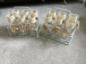 Wedding hessian and lace flower centre pieces