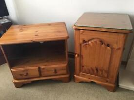 Westminster Pine Tv Unit (With Glass Shelf And Two Drawers) And Matching Cabinet