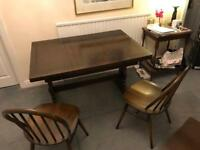 Ercol old colonial drawer leaf table & 4 chairs