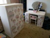 Hand decorated by artist small wardrobe and matching dressing table hot air balloon design.