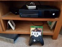 Xbox one day one edition 500gb(boxed), elite controller(with case) , 1tb external hard drive + doom