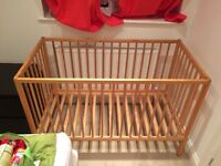 Cot bed size 120x60, good condition, no mattress.