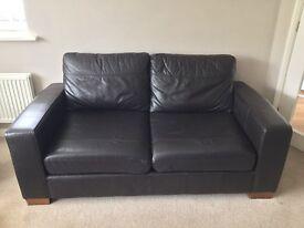 Small Dark Brown Leather Sofa