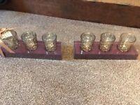 6 gold tea light holders