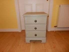 Shabby Chic Solid Wood 3 Drawer Beside Table( Reduced for Quick Sale )