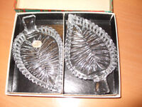 Two crystal leaf shaped dishes