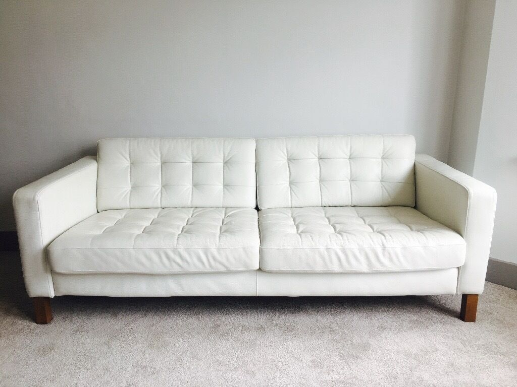 Ikea white leather sofa - Ikea Three Seat Leather Sofa Landskrona Grann Bomstad White