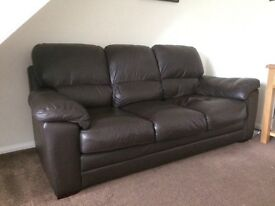 Brow Leather Sofa, Armchair and Foot stool