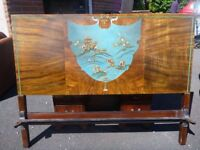 Beautiful Chinoiserie vintage double bed with matching chair PRICE REDUCED!