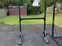 Strongman yoke and adjustable squat rack