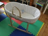 Moses basket with rocking stand, mattress, and sheets