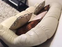 3 piece leather cream sofa. 3 seater x 1 and 1 seater x 2 in excellent condition