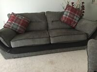 Three seater settee with large chair and storage puffee