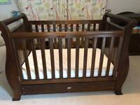Boori country sleigh cot bed and changing table drawers in county oak