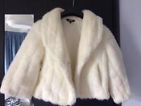 Faux fur ivory wedding jacket