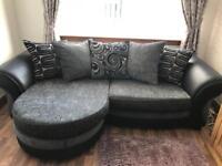 DFS Suite (4 seater sofa, large swivel footstool and half moon footstool)