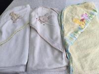 Baby hooded towel towels X 3