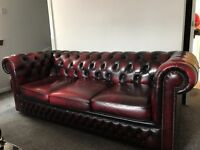 Chesterfield three piece couch & tub chair