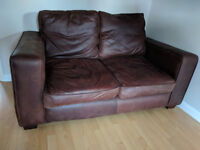 Chocolate brown, 2 seater leather sofa