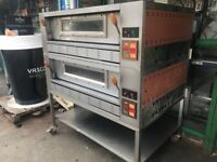 ITALIAN DOUBLE DECK STONE BASED GAS PIZZA OVEN COMMERCIAL CATERING EQUIPMENT PIZZA SHOP BAKERY