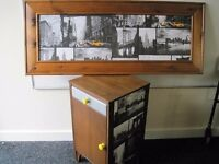 New York Themed Bedside Table and Framed scene £35 for the two.