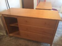 Kids oak chest of drawers with book shelf