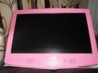 "21"" Pink Wall TV/DVDPlayer/Radio, with wall fittings and remote."
