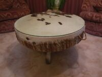 CENTERPIECE, AFRICAN DRUM COFFEE TABLE WITH REMOVABLE GLASS TOP, EXCELLENT CONDITION.