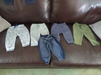 5 PAIRS OF ASSORTED BABY JOGGER TROUSERS 6-9 MONTHS