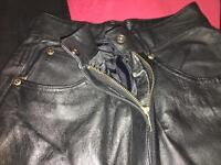 Women's black leather trousers