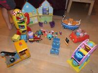 Peppa pig toy bundle - gc, house, car, boat, rocket, fairground, tow truck, train, school, figures