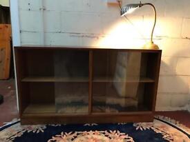 Long and narrow vintage teak bookcase