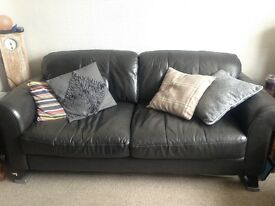 Dark Grey 3 Seater Leather Sofa now £150 Ono