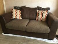 Suede and fabric sofa- excellent condition
